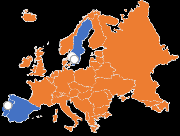 Map of Europe showing Fresher demo sites